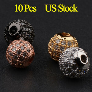 Smooth Micro Pave White Zircon Spacer Beads Necklace Jewelry Bracelets Beads Brass Cubic Zirconia Connector T470 Pig Shaped CZ Beads