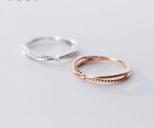 Schmaler Ring 925 Silber verstellbar  X Form Strass Kugel rund silber/rosegold