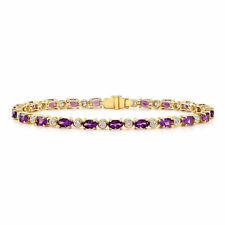 14k Yellow Gold Amethyst Diamond Tennis Bracelet Womens Oval Cut Natural Round