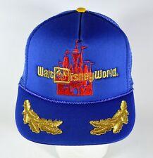 Vintage Disney World Castle Embroidered Cap, Blue Trucker Mesh Back Snapback Hat