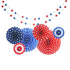 4th of July Decorations USA Star Balloons Paper Fan for Patriotic Decorations
