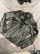 mens river island Black Bike Leather Style Jacket Size Medium M