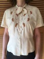 Authentic vintage 1930s / 40s / 50s embroidered silk blouse size UK 10