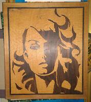 Ancien Panneau Carreau Bois Portrait Femme Marqueterie Vintage Années 1970