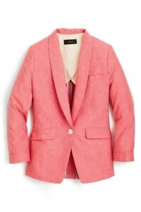 J. Crew Womens Unstructured Shawl Collar Cotton Linen Blazer Size 4P Petite Red