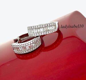 $2650 18k 750 White Gold 1ct Baguette Round Diamond Huggie Half Hoop Earrings 2B