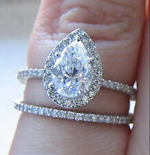2.0Ct Tear Drop Pear Halo Diamond Pave Engagement Ring + Band 18KWG GIA I/VS2