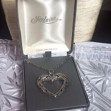 VTG Heart Necklace Jezlaine Signed Designer .925 Sterling Silver