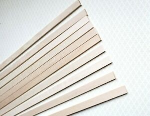 "Dollhouse Miniature Wood Strips x10 Flooring 3/32 x 3/8 x 12"" long Basswood 1:12"