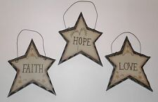 Primitive Carved look Star s/3~ 1 of each HOPE, FAITH & LOVE Country Home decor