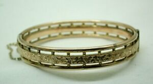 Lovely Antique 9 Carat Rose Gold Engraved Hinged Bangle - Small Wrist Size