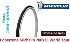 Copertone Michelin 700x35=28x5/8 World Tour Bianco/Nero per Bici 28 Single Speed
