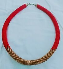 Maasai Kenya African Jewelry Rope Beaded necklace-red and other color beads