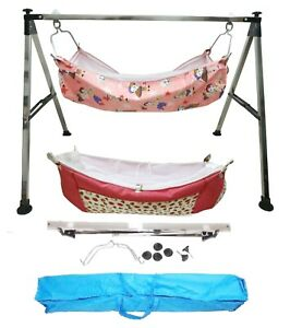 Smart Folding Steel Cradle Square Pipe with two cotton hammock with mosquito net