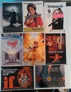 8x original cult movie postcards ,Lynch ,Elephant man,If,Meyers Super vixens,etc