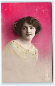 1912 STUNNING HAND TINTED PHOTO POST CARD RPPC GORGEOUS EDWARDIAN MODEL 1A16
