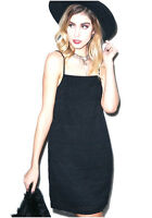 NEW NWT DOLLS KILL MOTEL LITTLE BLACK LACE EYELET SLIP DRESS FESTIVAL CUTE RARE