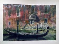 Bild Zeichnung Aquarell Ansicht Gondel Ruderboot Venedig Passepartout Weygandt