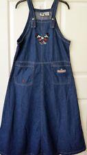 Disney Womens S Overall Dress Mickey Minnie Mouse Denim Bib Jumper Blue Modest