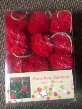 "New 7 Feet of Red Yarn Pom Pom Garland - Christmas Valentines 2.25"" Diameter Nib"