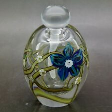 "ZELLIQUE STUDIOS Blue and White Flowers Art Elegant Perfume Bottle,Apr 3.7""Hx2""W"