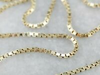 14K Solid Yellow Gold Box Necklace Real Gold Chain 18""