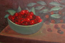 Still Life with cherries vintage oil painting