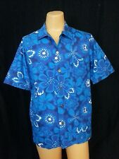 VTG 1980s Kona Kai Jantzen Hawiian Shirt Top Ocen Blue Purple White Floral USA L