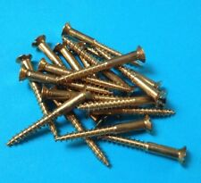 """20 x Solid Brass Countersunk Slotted Wood Screws 10g x 2 """" Australian Made"""