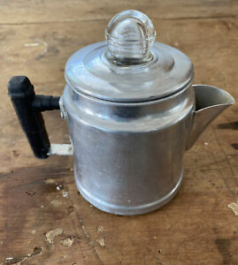 Vtg Small Aluminum 2-Cup Camp Fire Stove Top Coffee Pot Percolator