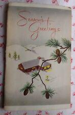 Vintage 1950s Christmas Greeting Card Photocraft Sample Card Holiday Snow Scene