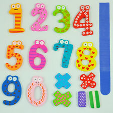 Colorful Magnetic Numbers Wooden Fridge Magnets Kids Educational toys Gift DT