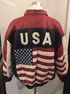 Misty Harbor Mens Large Faux Leather USA American Flag Full Zip Jacket New VTG