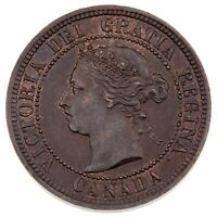 1887 Double 87 Canada Large Cent Coin (AU) Condition