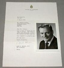 Original Deceased Jack Horner Canadian Cabinet Minister Signed Photo & Letter