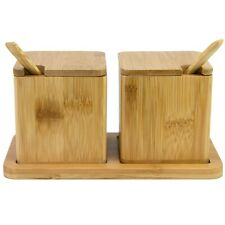 Totally Bamboo Double Dipper Salt Box / Cellar with Spoos & Tray