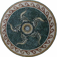 Round Medallion Dolphin Wave Dark Green Table Top Marble Mosaic