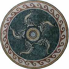 Round Medallion Dolphin Wave Dark Green Table Top Marble Mosaic Md1400