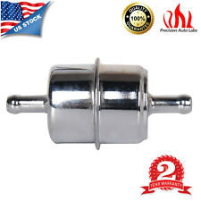 """Chrome Canister Style 3/8"""" InLine Fuel Filter  Hose Carbureted Chevy Ford Mopar"""