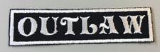 "Custom  Biker Vest Patch OUTLAW  4""X 1"" Sew/Iron on (WHITE on BLACK)"