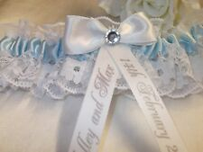 Personalised Wedding Bridal Garter Something Blue Handmade lovely gift
