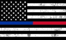 Thin Blue Line and Red Line Lives Matter Flag Car Decal Bumper Sticker Support