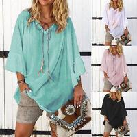 ZANZEA 8-24 Women Flare Bell Sleeve Blouse Top Tee T Shirt V Neck Plain Pullover