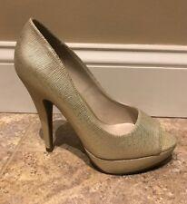 Apt. 9 Beige Metallic Peep Toe Platform Heels 7.5 NEW $54.99