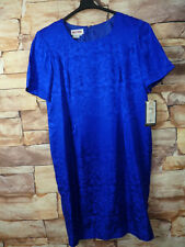 New 100% SILK  DRESS Sz 20 by MAGGY LONDON in Blue Button-Down