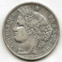 Francia 5 Francos 1851 A CERES plata  @ BELLA @