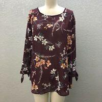 NWT Van Heusen Tunic Top Blouse Womens XL Maroon Textured Semi Sheer Long Sleeve