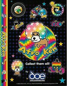 """Afro Ken sticker set (2002) SAN-X 7"""" X 9 1/4"""" sheet (2 sheet) New old stock"""