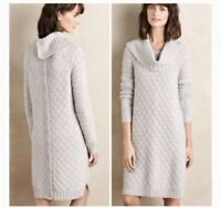 Anthropologie Sparrow Button Back Cable Knit Gray Sweater Dress Size Small