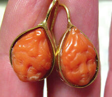VICTORIAN 14K GOLD CARVED CORAL CHERUB EARRINGS PIERCED DROP 5 GRAMS